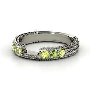 Matching Band, 14K White Gold Ring with Peridot & Green Tourmaline