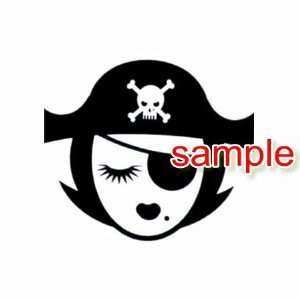 LADY PIRATE SKULL HAT WHITE VINYL DECAL STICKER