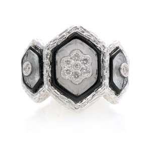 18k WG 0.22 Ct Diamond Black Enamel Crystal Quartz Ring Jewelry