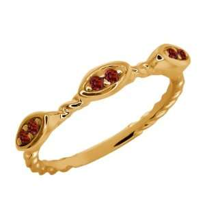 Round Red Rhodolite Garnet Gold Plated Sterling Silver Ring Jewelry