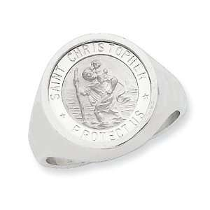 Sterling Silver Mens Saint Christopher Ring Size 11: Jewelry