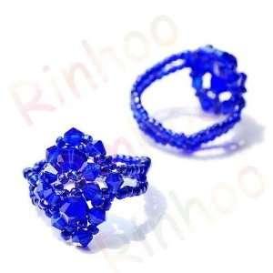 (R2) Crystal Glass Beaded Ring ROYAL BLUE