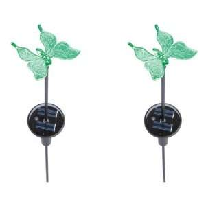 Solar Powered LED Color Changing Butterfly Stake Lights   2 Pack