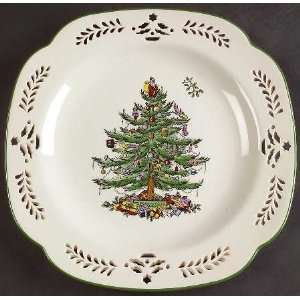 Spode Christmas Tree Green Trim Pierced Tree Square Plate