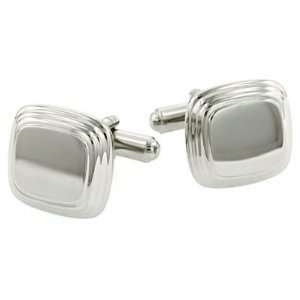 Elegant square cufflinks with step down edging with presentation box