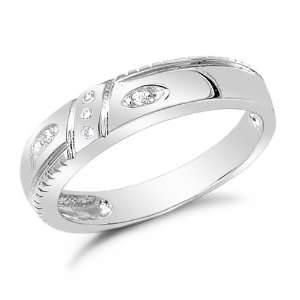 Sterling Silver CZ Wedding Band Ring, 7 Jewelry