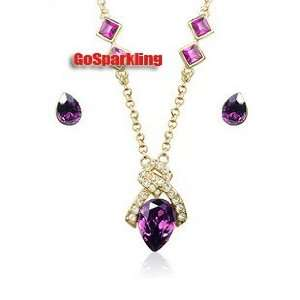 Purple Crystal Gold Plated Necklace & Earrings Set Used Swarovski
