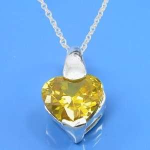 52 Grams 925 Sterling Silver Heart Symbol Cz Yellow Gemstone Pendant