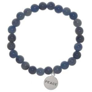 Sterling Silver PEACE Blue Aventurine Wish Bead Stretch Bracelet