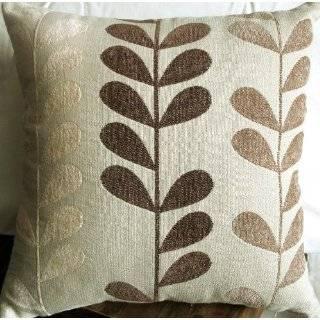 Decorative Beige Light Blue Floral Throw Pillow Cover