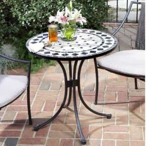 Tan & Black Tile Top Bistro Table Patio, Lawn & Garden