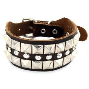 Brown Leather Bracelet with Multi Row Pyramid and CZ Studs