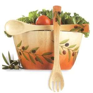 Wooden Oliva Bowl with Utensils