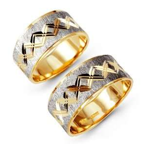 14k Yellow White Gold Engraved Wide Wedding Band Set Jewelry