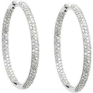14K White Gold Diamond Hoop Earrings   1.75 Ct. Jewelry