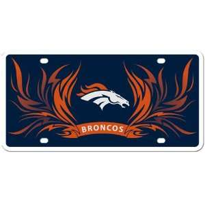 Denver Broncos Flame License Styrene NFL Plate Car Sign Tag Officially