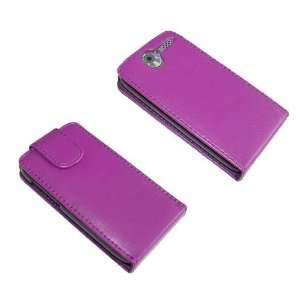 Purple PU Leather Flip Case for HTC Desire Cell Phones & Accessories