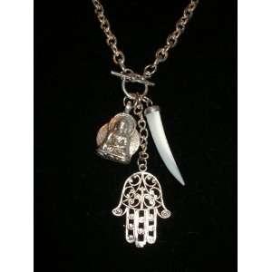 HAMSA ~ BUDDHA ~ HORN ~ Lucky Charm Necklace~Designer Brand
