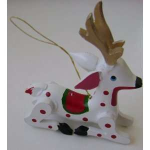 White Polka Dot Reindeer Christmas Tree Ornament   3 inches x 3 1/2