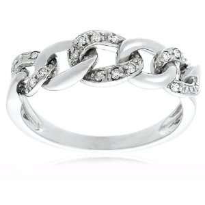 10k White Gold Diamond Link Ring (1/10 cttw, I J Color, I2