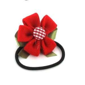 Red / Toddler/Girl/Teenager Flower Shaped with ribbon Bow Hair Elastic
