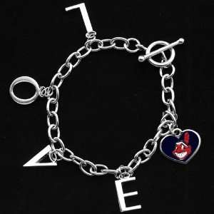 by Alyssa Milano Cleveland Indians Ladies Love Chain Charm Bracelet