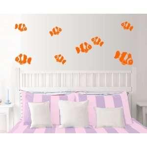 StikEez Orange Clown Fish Fun 8 Pack Wall Decal Set