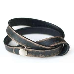 Distressed leather wrap bracelet, Daring in Black Jewelry