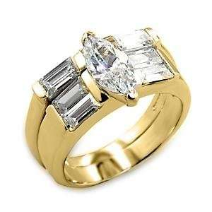 Size 6 Wedding Clear Cubic Zirconia Brass Gold Plated Ring