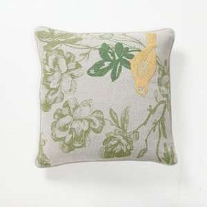 Green Fields Paradise Bird Pillow in Yellow [Se of 2