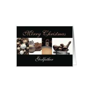 Godfather Merry Christmas, sepia, black & white Winter collage card