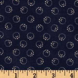 44 Wide Moon & Stars Swirl Navy Fabric By The Yard Arts