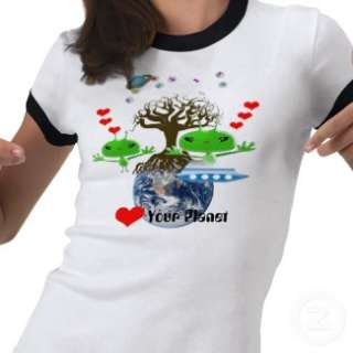 Heart Your Planet! Alien Gel Babies Sign T Shirt from Zazzle