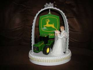 NEW JOHN DEERE WEDDING CAKE TOPPER WITH WEDDING COUPLE