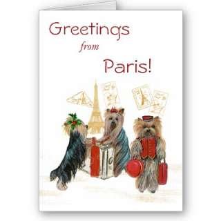 Yorkie Travel Paris Eiffel Tower Christmas Card  Zazzle.co.uk