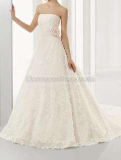> 2010 Ivory Style Strapless Flower/Rosette Hot Lace Wedding Dress