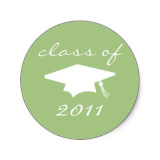 Class Of 2011 Label (Sage Green Graduation Cap) Round Sticker from