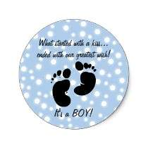 Started With A Kiss Wish Blue Custom Round Stickers by pinkinkart