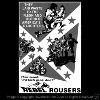 Rebel Rousers Shirt Motorcycle Gang Confederate Flag