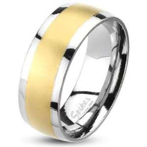 Spikes 7  Spikes Stainless Steel Brushed Gold IP Band Ring