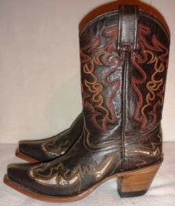 NEW Corral Distressed Womens Black Leather Western Cowboy Boots Sz 6.5