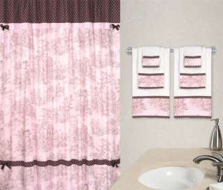 PINK FRENCH COUNTRY TOILE SHOWER CURTAIN AND 3 PIECE TOWEL SET
