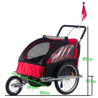 Double Baby Bicycle Trailer 2IN1 Kids Child Bike Stroller Red/Black