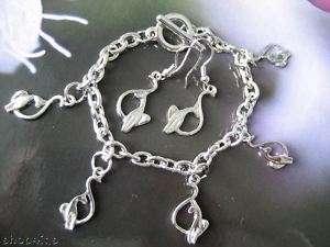 Baby Phat Cat Charm Bracelet & Earrings Silvertone