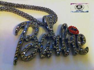 Nicki Minaj 3 FAMOUS BARBIE Iced Out Necklace Hematie/Black Red Lips