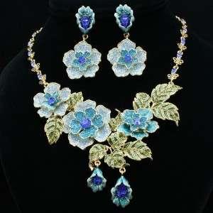 Swarovski Crystals Hot Blue Rose Flower Necklace Earring Set