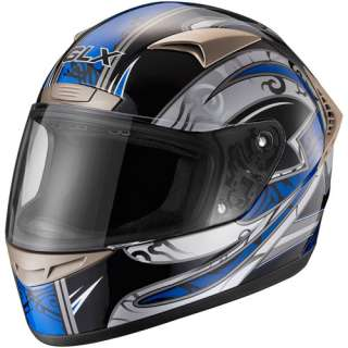 GLX DOT Tribal Full Face Motorcycle Helmet, Blue, XL