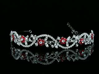 Apple Red Bridal Flower Rhinestones Crystal Wedding Tiara Headband