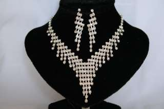 WEDDING BRIDAL PROM RHINESTONE NECKLACE EARRING SETS