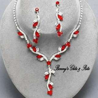 Prom Bridal Bridesmaid Formal Red Crystal necklace set Gift Box